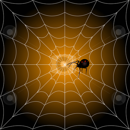 Spider in Web Illustration stock vector clipart, Black widow spider in web halloween illustration by John Teeter