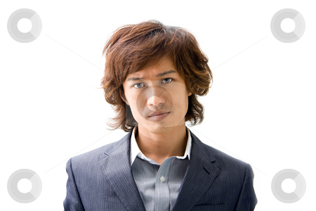 Young Asian business man stock photo, Young Asian business man's face dressed in a gray pinstripe suit , isolated by Paul Hakimata