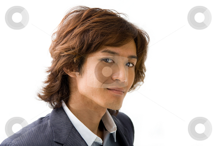 Handsome Asian guy stock photo, Handsome Asian guy's face with a smile, isolated by Paul Hakimata