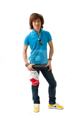 Handsome Asian guy stock photo, Handsome Asian man standing wearing casual clothes, isolated by Paul Hakimata