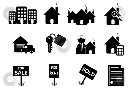 Retro Real Estate Icons stock vector clipart, Icon illustration of Real Estate Elements by Stephanie Soon
