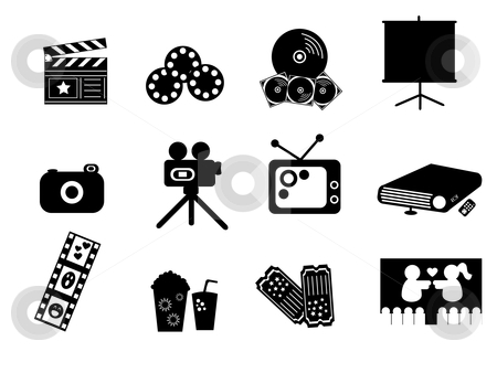 Black Entertainment Icons stock vector clipart, Icon Illustration of Entertainment Symbols in Black and White by Stephanie Soon