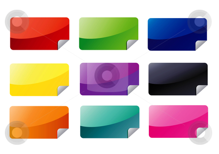 Rectangle Announcement Icons stock vector clipart, Icons and badge for announcement by Stephanie Soon