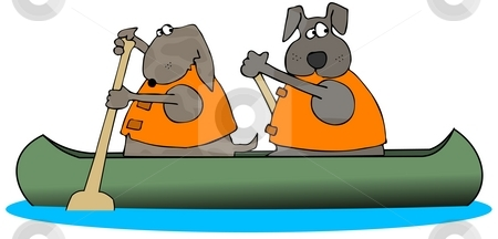 Two Dogs Paddling A Canoe stock photo, This illustration depicts 2 dogs paddling a canoe. by Dennis Cox