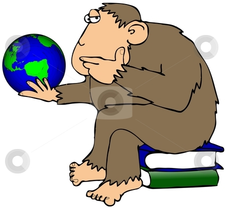 Ape Pondering A Globe stock photo, This illustration depicts an ape sitting on books and pondering a small globe of the earth. by Dennis Cox