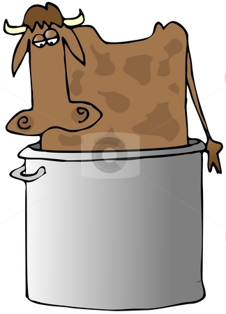 Beef Soup stock photo, This illustration depicts a cow standing in a large soup pot. by Dennis Cox
