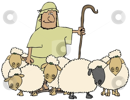 Sheep And Shepherd stock photo, This illustration depicts a shepherd with his herd of sheep. by Dennis Cox