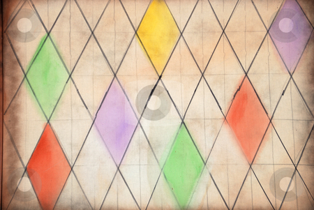 Medieval Window Pattern stock photo, Medieval Window Diamond Shaped Pattern with some Colored Fields by Denis Radovanovic