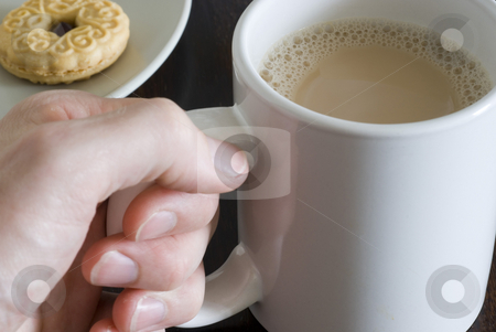 A mug of tea stock photo, A large mug of white tea and biscuits by Stephen Gibson