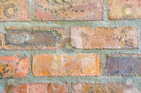 Abstract brick wall stock photo, An abstract brick wall showing the brick patterns, suitable for a background or design. by Nicolaas Traut