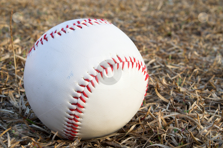 Baseball stock photo, A lone baseball ready for sports action. by Robert Byron