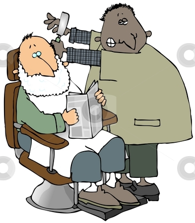 Professional Shave stock photo, This illustration depicts a man in a barber chair about to get a shave. by Dennis Cox