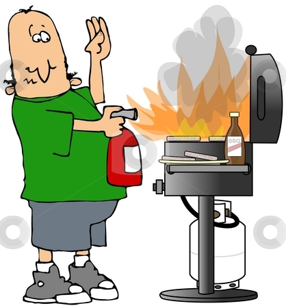 BBQ On Fire stock photo, This illustration depicts a man pointing a fire extinguisher at a flaming barbecue grill. by Dennis Cox