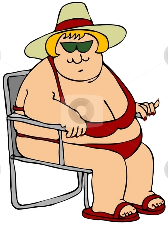 Fat Woman In A Red Bikini stock photo, This illustration depicts a fat woman wearing a bikini and sitting in a chair. by Dennis Cox