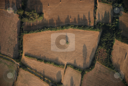 Aerial landscape in Catalonia  stock photo, Picture Taken from a hot air balloon by Gady Cojocaru