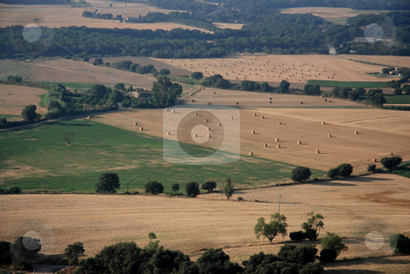 Aerial landscape in Catalonia   stock photo, Picture taken from hot air balloon by Gady Cojocaru