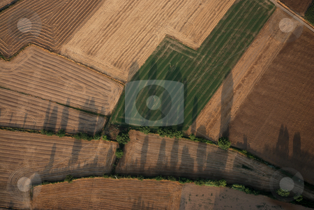 Aerial landscape in Catalonia  stock photo, Picture taken from a hot air balloon. by Gady Cojocaru