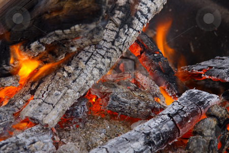 Burning Campfire with Coals stock photo, Campfire wood fire burning with charred coals. by Steve Stedman