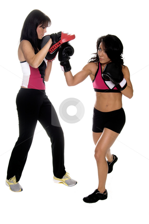 Focus Mitt Uppercut stock photo, Two beautiful female boxers training on focus mitts with the puncher throwing a big right uppercut.  Full body isolated image by Robert Deal