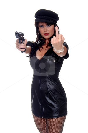 The Choice Is Yours stock photo, Very sexy young Police woman with a pistol conveying a very definate message of being F*cked one way or the other by Robert Deal