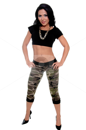 Hispanic woman in camo pants stock photo, Full body view of a sexy young latin woman in a black t-shirt and camo pattern pants and a gold log chain for a necklace by Robert Deal
