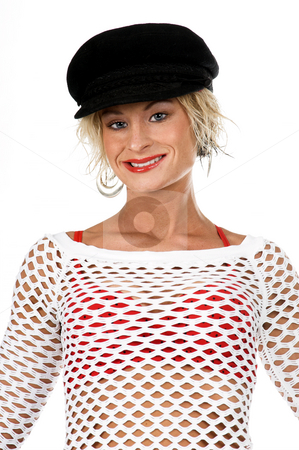 Orange County Fashion stock photo, Sexy OC blonde fashion model in a denim skirt, net top and red bra and a sporty black hat.  isolated over white. by Robert Deal