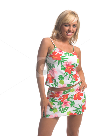 Hibiscus Tankini Blonde stock photo, Sexy blond swimwear model ina white tankini with a large and bold pink and green Hibiscus flower print. Copy space to the left by Robert Deal