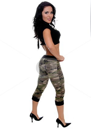 Urban Latin Beauty stock photo, Full body viewof a sexy young latin woman in a black t-shirt and camo pattern pants and black high heels by Robert Deal