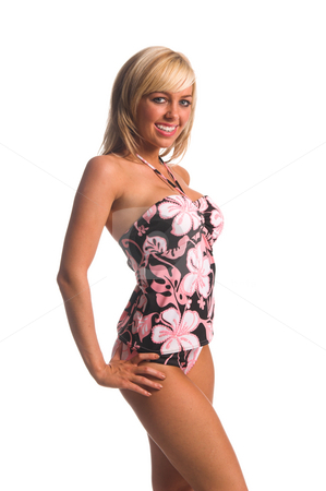 Island Tankini Blonde stock photo, Sexy blond swimwear model in pink island print tankini embellished with rhinestones by Robert Deal
