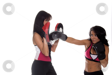 Focus Mitt Training stock photo, Two beautiful female boxers training on focus mitts the puncher is throwing a right cross by Robert Deal