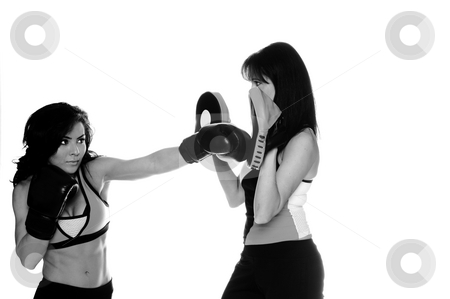 Focus Mitt Training stock photo, Two beautiful female boxers training on focus mitts the puncher is throwing a left cross by Robert Deal