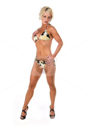 Blond in Camo Bikini stock photo, Sexy blond swim wear model in a camo bikini  Full body by Robert Deal