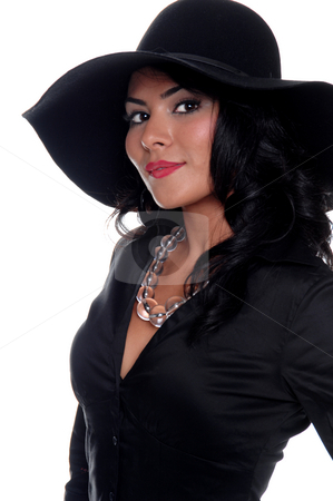 High Fashion Woman stock photo, Beautiful young Latina socialite in a big floppy black hat and crystal necklace by Robert Deal