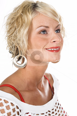 Pretty Blonde Headshot stock photo, Head shot of a pretty blonde with short hair and a nice smile by Robert Deal