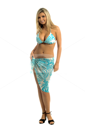 Blue Stripe Bikini Blonde stock photo, Sexy blond swimwear model in a blue and white striped sequine embellished bikini and sarong by Robert Deal