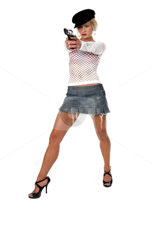 Fashion  Gangster stock photo, Sexy OC blonde fashion diva in a denim skirt, net top and red bra with a 45 caliber handgun pointed at the camera.  Selective depth of field isolated over white. by Robert Deal