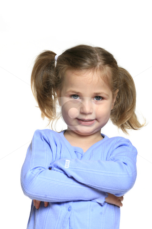 Little girl stock photo, Cute little girl isolated on white background, with arm crossed and happy expression by Anita Peppers