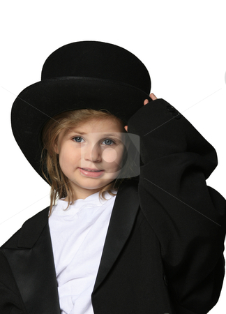 Show Business stock photo, Cute little girl dressed up in an over-sized black tux and top hat by Anita Peppers