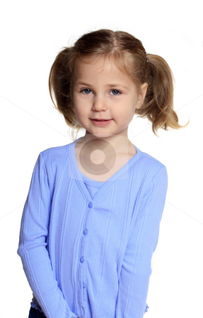 Smiling little girl stock photo, Cute little girl,smiling and interacting isolated on white by Anita Peppers