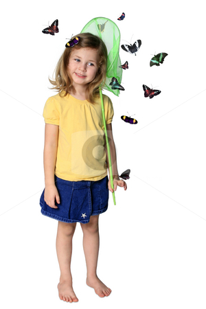 Catching butterflies stock photo, Little girl with butterfly net and butterflies isolated on white by Anita Peppers