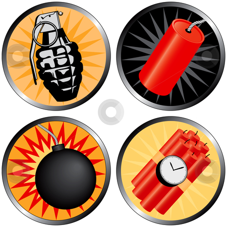 Icons that go BOOM stock vector clipart, Icons that go BOOM! Including a grenade, bomb, time bomb and firecracker. by Adrian Sawvel