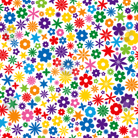 Colorful Flower Tile stock vector clipart, Seamless Repeating Colorful Flower Tile by Adrian Sawvel