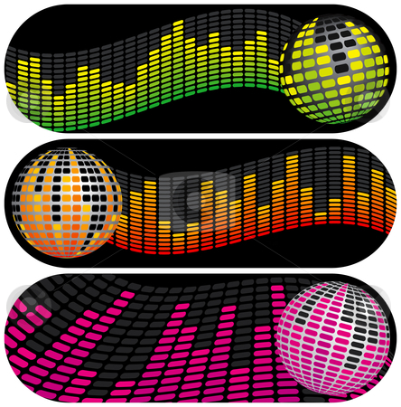 Three Disco Music Banners stock vector clipart, Three Disco Music Equalizer Banners by Adrian Sawvel
