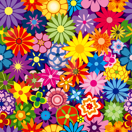 Colorful Flower Background stock vector clipart, Colorful Seamless Repeating Flower Background by Adrian Sawvel