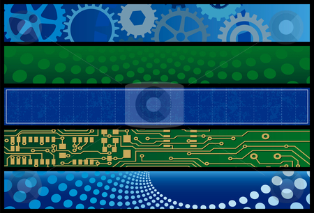 Technology Web Banners stock vector clipart, Technology Web Banners. Layered .eps file for easy editing by Adrian Sawvel