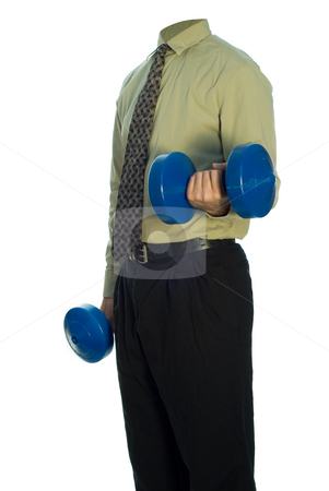 Office Exercise stock photo, A headless person in a suit is lifting weights by Richard Nelson
