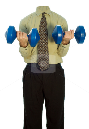 Lifting Weights stock photo, A headless man in a business suit lifting weight against a white background by Richard Nelson