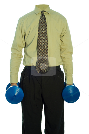 Corporate Exercise stock photo, A headless businessman lifting a set of blue dumbells, isolated against a white background by Richard Nelson