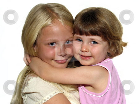 Sisters stock photo, Two little girls against a white background by Anita Peppers
