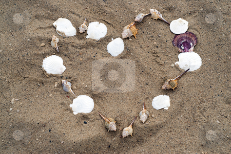 Heart In The Sand stock photo, A heart shape in the sand, made from seashells by Richard Nelson